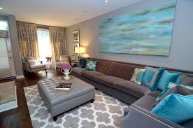 Transitional Living Room Turquoise Toronto By Brown And