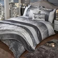 glitter crushed velvet duvet cover set silver grey