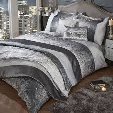 glitter crushed velvet duvet cover set silver grey