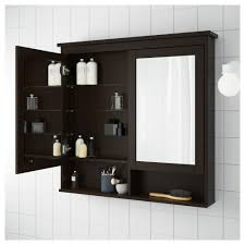 HEMNES Mirror cabinet with 2 doors - black-brown stain, 32 5/8x6 1/4x38 5/8