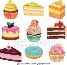 Vector Art Flat Vector Set Of Various Sweet Desserts Cupcakes