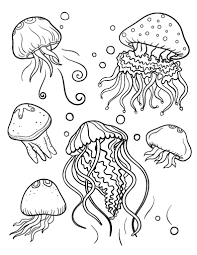 Small Picture Printable jellyfish coloring page Free PDF download at http