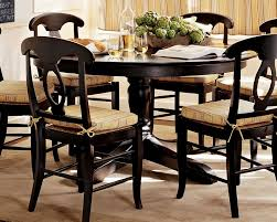 country dining table set with rustic khaki cushion pads dinette chairs round black finish
