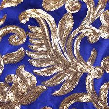 Blue And Gold Design Floral Royal Blue Gold Sequin Tuxedo Jacket