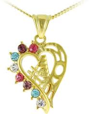 vp jewels women s 18k gold plated 1 mom multicolor crystals heart necklace souq uae