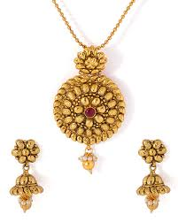 designer pendant sets gold tone traditional necklace set with red stone adornment voylla