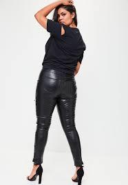 missguided plus size black premium faux leather pants
