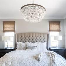 modern bedroom chandeliers. Master Bedroom | Linen Bed |Roman Shades Cream Bedding| Calming Inside Chandeliers Modern N