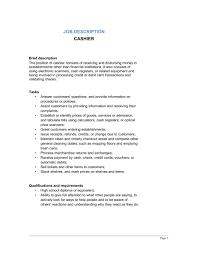 Exciting Job Description For Cashier Template Sample Form Biztree