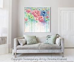 original art abstract flower painting large canvas blue colorful rose u2016 contemporary art by christine