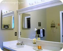 bathroom crown molding. We Framed Our Builder-grade Bathroom Mirror Using Crown Molding. For More Details, Molding N