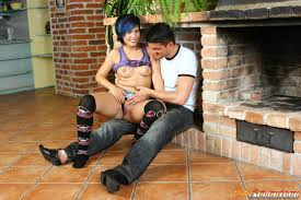 Club Seventeen Nikita Daring teen cutie with blue hair railed in.