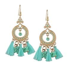 vintage tassel beaded chandelier earrings lake blue trendy whuafh