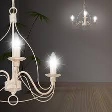 Mia A19487n Landhaus Kronleuchter ø440mm Antik Rustikal Flämisch Weiß Metall Lampe Leuchte