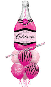 pink chagne birthday bouquet 59 00 funky balloons canberra act helium balloon gift bouquets decorations delivered