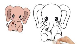 baby elephant drawings. Fine Elephant How To Draw A Cute Baby Elephant For Kids  Very Easy  HDE Throughout Drawings