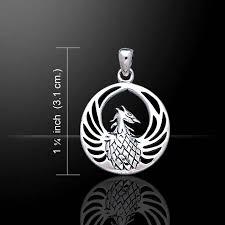 phoenix with enamel pendant sterling silver