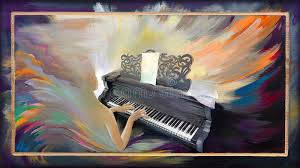portrait of beautiful girl playing the piano in the fantasy environment