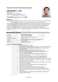Mechanical Engineering Resume Template Engineer Sample Canadadf