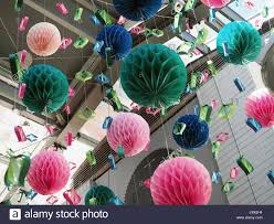 Paper Flower Balls To Hang From Ceiling Origami Pom Pom Paper Craft Ball New Year Or Christmas Party
