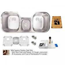 bella 46 inch premium 16 gauge stainless steel undermount triple bowl kitchen sink with free accessories