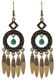 burnished gold tone turquoise stone chandelier earrings