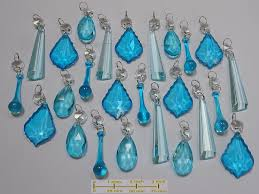 25 teal aqua turquoise chandelier drops glass crystals droplets mix beads vintage tree wedding decorations feng shui light parts