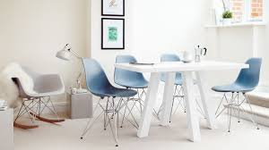 blue and white eames 4 seater dining sets eames chairs with metal legs and gl table