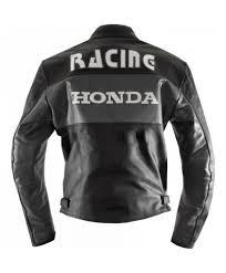 racing honda motorcycle leather black jacket