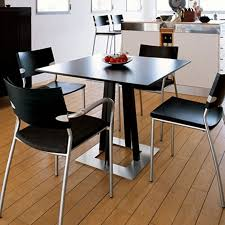 Lovely Minimalist Dining Room Design With Black Small Square Kitchen Table Ideas,  Stainless Steel Legs Black