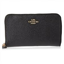 Coach Black Leather For Women - Zip Around Wallets