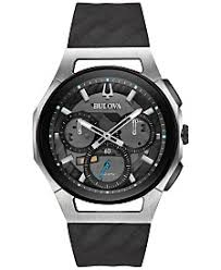 black watches for men shop black watches for men macy s bulova men s chronograph curv black rubber strap watch 44mm 98a161