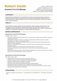 Supermarket Manager Resumes Assistant Front End Manager Resume Samples Qwikresume