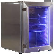stainless steel mini glass door bar fridge with led lighting and lock