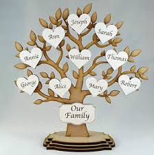 Personalised Wooden Family Tree Freestanding Gift Decoration Shabby