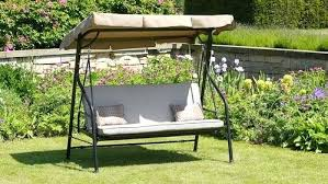 garden swing chair luxury beige bed 3 seat with cushions adjule canopy uk