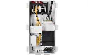 the leviton 49605 structured media enclosure populated with a common networking components image
