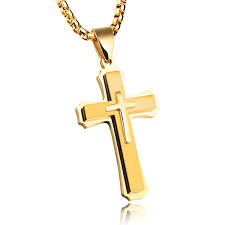 stainless steel mens gold cross necklace