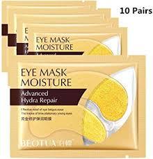 10 Pairs <b>Gold</b>/<b>Seaweed Collagen</b> Crystal <b>Eye</b> Masks Dark Circles ...