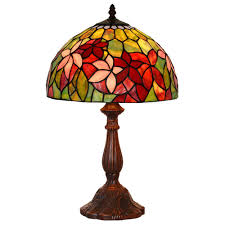 fumat tiffany style stained glass table lamp romantic clematis design