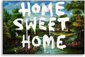 Wandbild von Kunstbruder - Home Sweet Home - Banksy Graffiti - Leinwandbild  auf Keilrahmen Pop Art Gemälde Kunstdruck Wandbild Leinwand Zimmerbild  Flurbild Wohnzimmerbild (60x40cm): Amazon.de: Küche & Haushalt