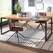 Esstisch 190x100x76 Cm Goyar Sheesham Holztisch Mit Metallbeinen Massiver Esszimmertisch Braun Schwarz Großer Tisch Echtholz Metall