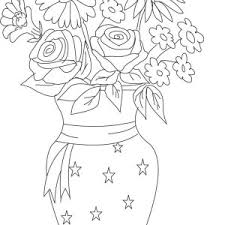 Small Picture Lovely Flower Bouquet in Thin Vase Coloring Page Lovely Flower
