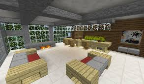 Minecraft Modern Bedroom Detail Modern Living Room With Couches Bar And Fireplace Minecraft