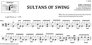 Sultans Of Swing Dire Straits Drum Sheet Music