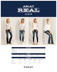 Ariat V Sport Size Chart Ariat R E A L Boot Cut Ladies Jeans
