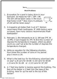 integer word problems worksheets