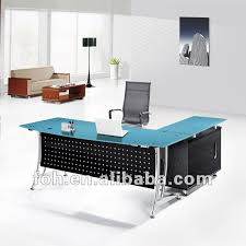 blue glass top modern office furniture office table fohj 8058