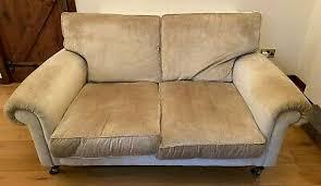LAURA ASHLEY Kingston Small Two Seater Sofa - Pale Gold Velvet - £100.00    PicClick UK