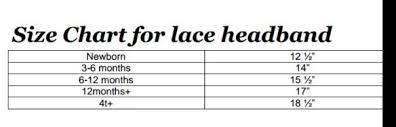 Headband Size Chart Headband Lace Elastic Size Chart Sewing Lace Headbands